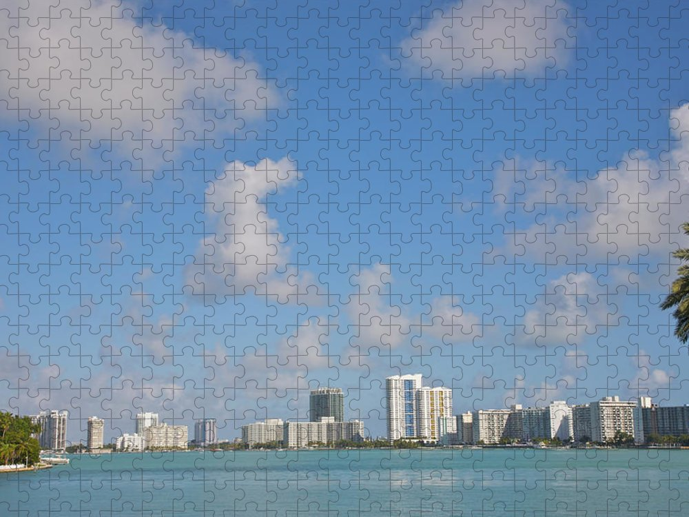 Residential District Puzzle featuring the photograph Line Of White Residential Towers Above by Barry Winiker