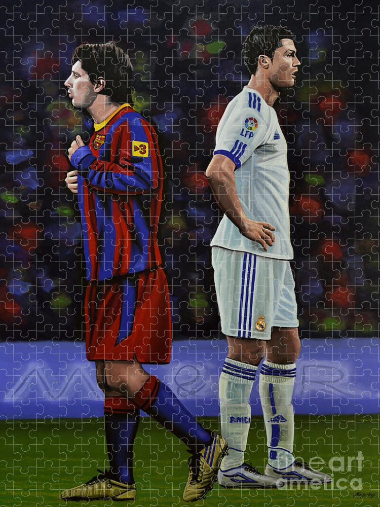 Lionel Messi Puzzle featuring the painting Lionel Messi and Cristiano Ronaldo by Paul Meijering