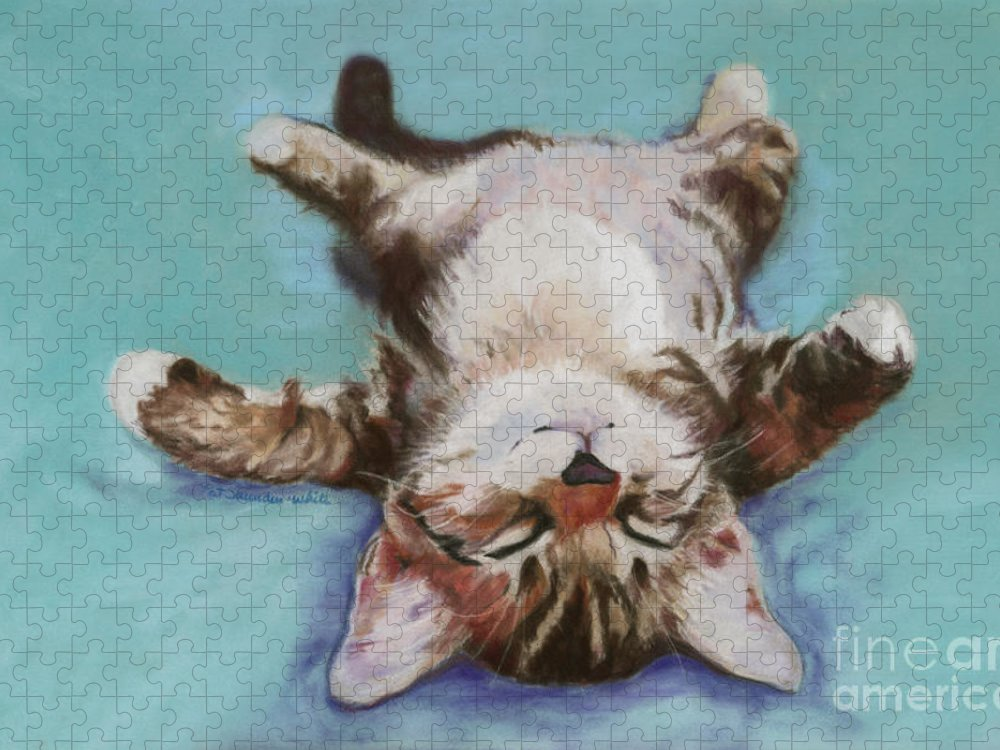 Cat Painting Puzzle featuring the pastel Little Napper by Pat Saunders-White