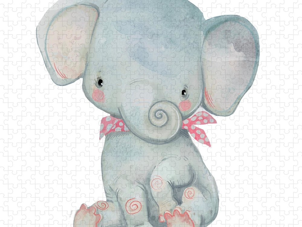 Watercolor Painting Puzzle featuring the digital art Little Pocket Elephant by Cofeee