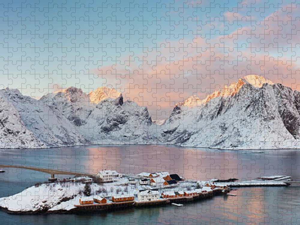 Tranquility Puzzle featuring the photograph Lofoten Islands Winter Panorama by Esen Tunar Photography