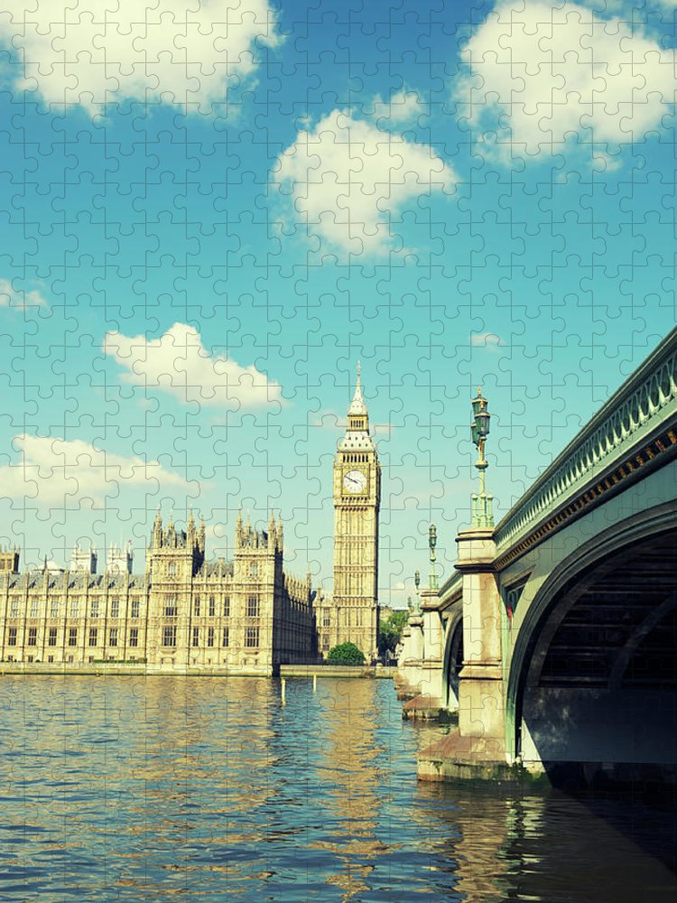 Clock Tower Puzzle featuring the photograph London Big Ben Houses Of Parliament by Peskymonkey