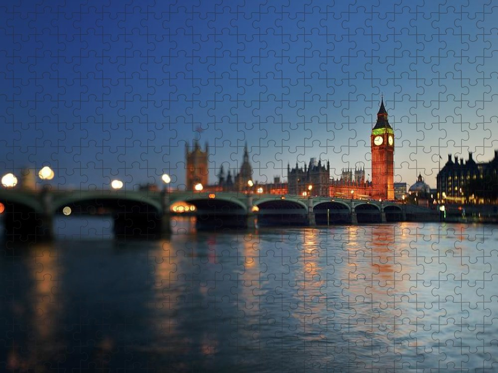 Tranquility Puzzle featuring the photograph London, Palace Of Westminster At Sunset by Vladimir Zakharov
