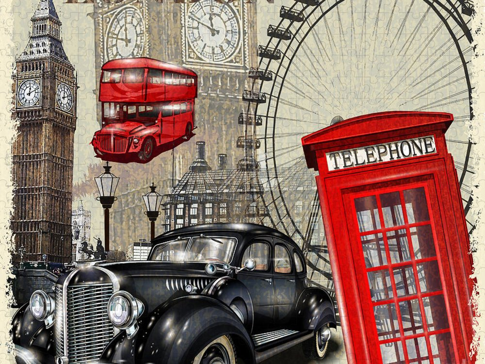 Bus Puzzle featuring the digital art London Vintage Poster by Axpop