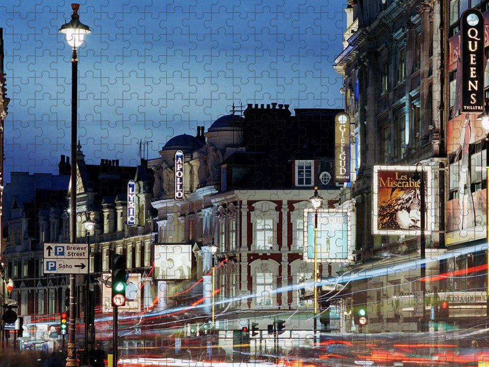 Recreational Pursuit Puzzle featuring the photograph Londons Shaftesbury Avenue At Dusk by Shomos Uddin