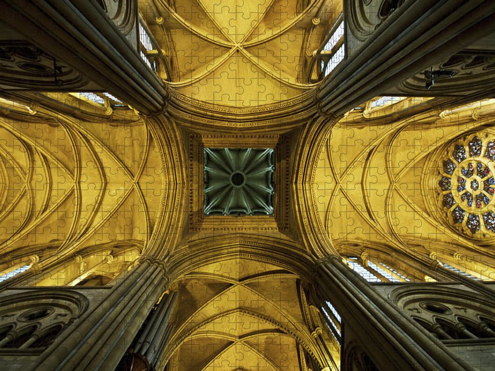 Arch Puzzle featuring the photograph Looking Up At A Cathedral Ceiling by James Ingham / Design Pics