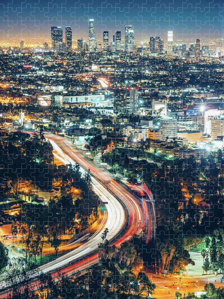 Downtown District Puzzle featuring the photograph Los Angeles Skyline At Night by Ferrantraite