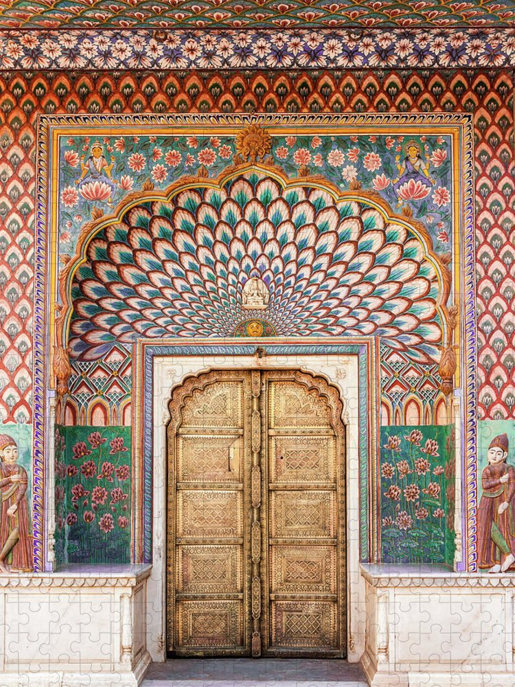 Arch Puzzle featuring the photograph Lotus Gate In Jaipur City Palace by Hakat