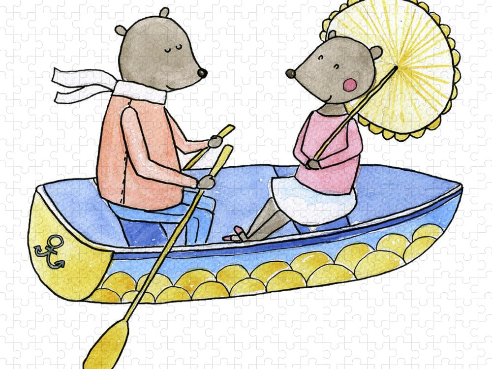 Bridegroom Puzzle featuring the digital art Love Boat Watercolor Illustration by Kili-kili