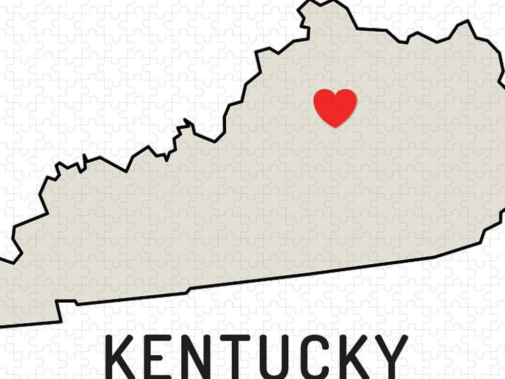 Design Element Puzzle featuring the digital art Love Kentucky State by Chokkicx