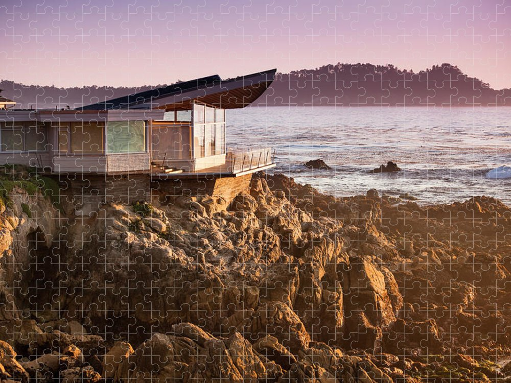 Water's Edge Puzzle featuring the photograph Luxury Home Overlooks The Big Sur by Pgiam