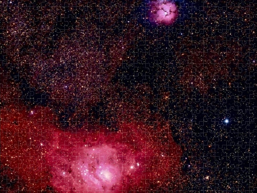 New Mexico Puzzle featuring the photograph M8 The Lagoon Nebula And M20 The Trifid by A. V. Ley