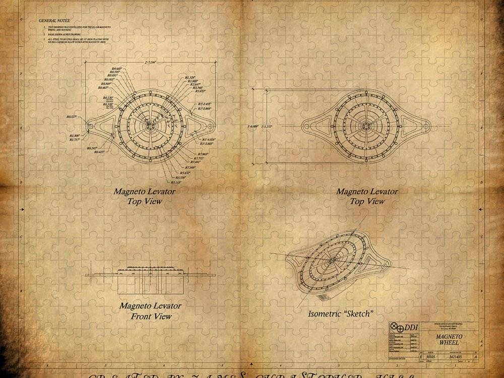 Steampunk; Gears; Housing; Cogs; Machinery; Lathe; Columns; Brass; Copper; Gold; Ratio; Rotation; Elegant; Forge; Industry; Jules Verne Puzzle featuring the painting Magneto System Blueprint by James Christopher Hill