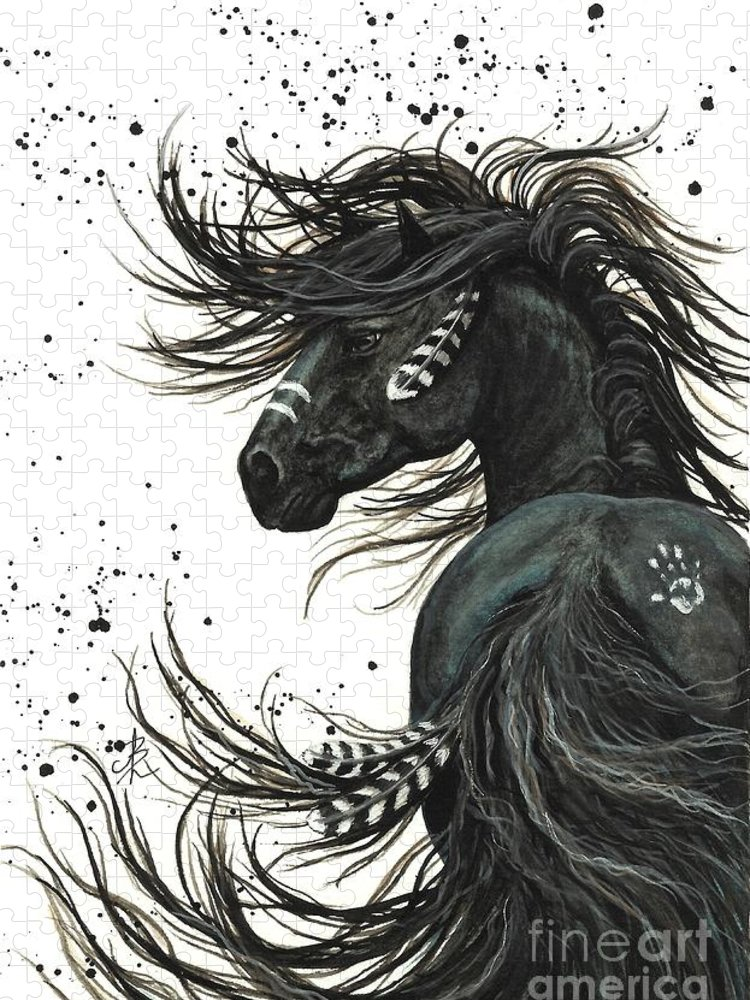 Mm65 Puzzle featuring the painting Majestic Spirit Horse I by AmyLyn Bihrle