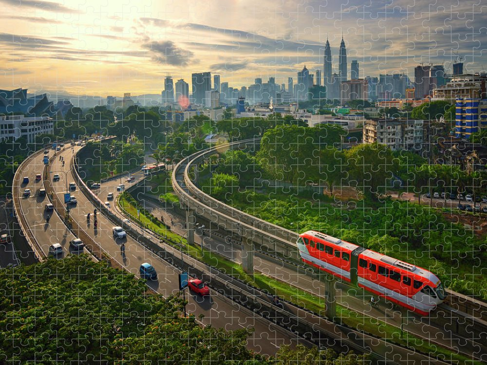 Train Puzzle featuring the photograph Malaysia - Kuala Lumpur City by By Toonman