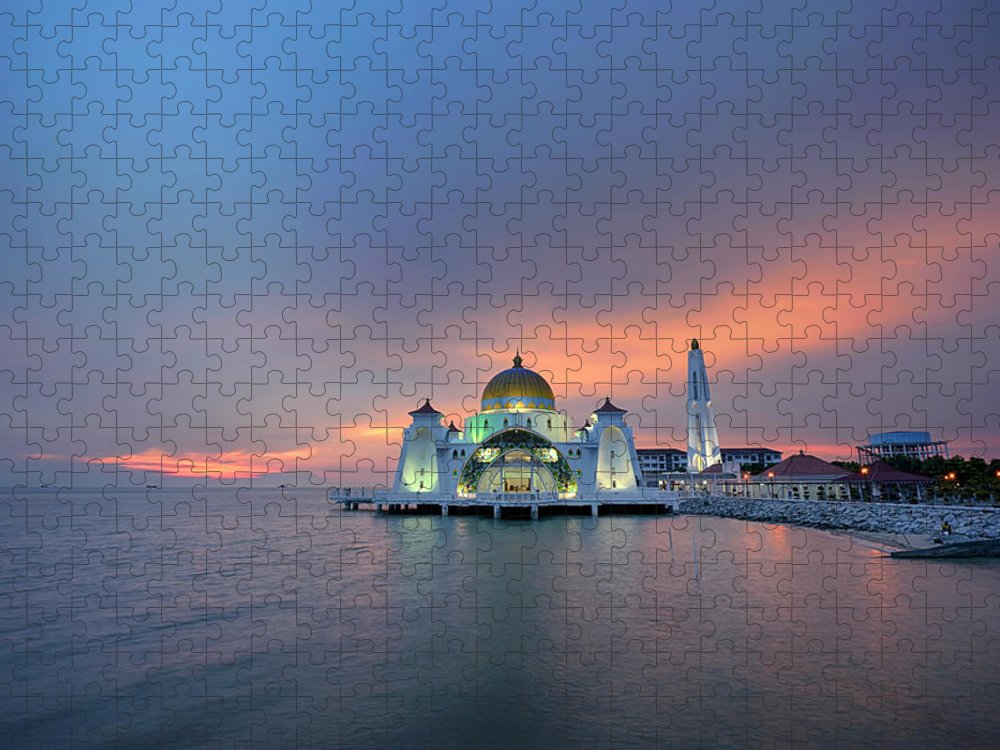 Mosque Puzzle featuring the photograph Malaysia - The Straits Mosque, Malacca by By Toonman