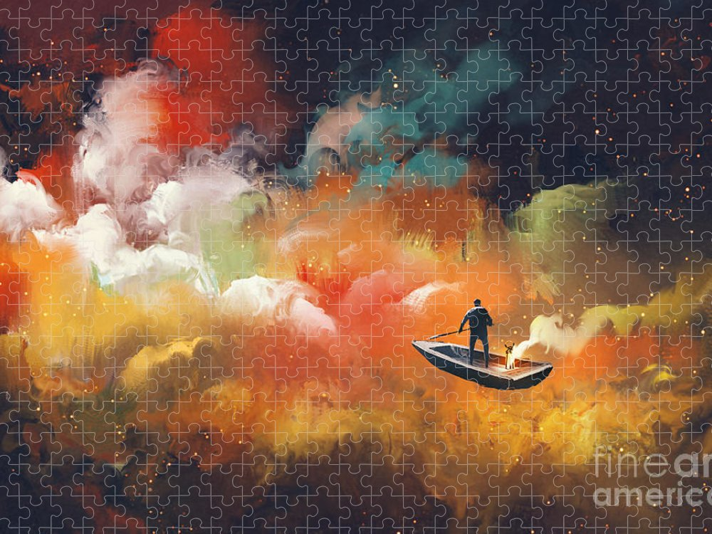 Clouds Puzzle featuring the digital art Man On A Boat In The Outer Space by Tithi Luadthong