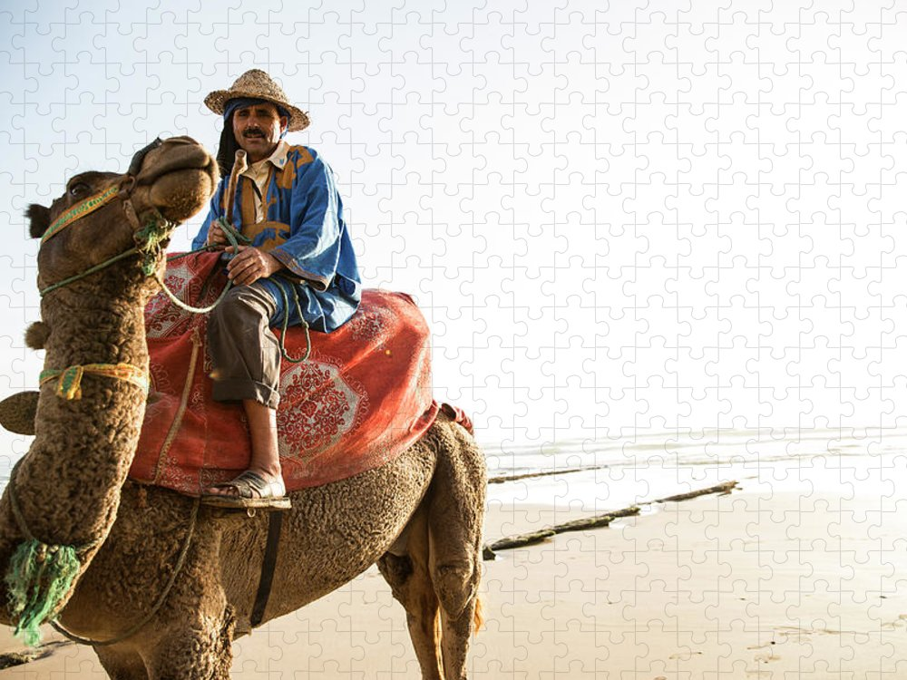 Agadir Puzzle featuring the photograph Man On Camel On Beach, Taghazout by Tim E White