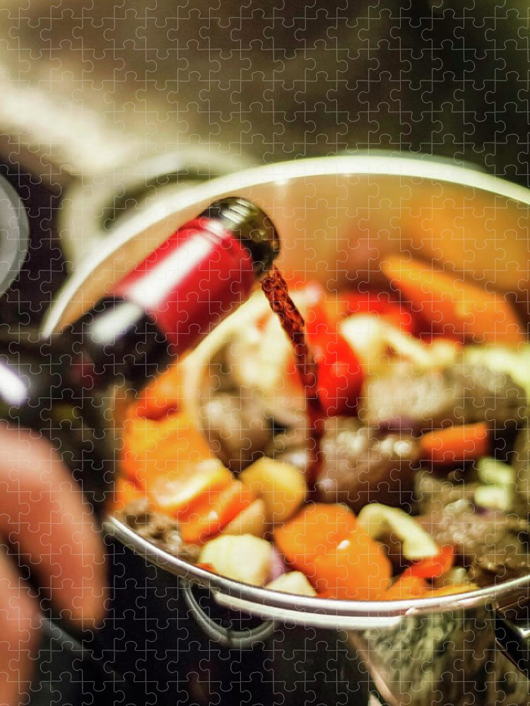 Mature Adult Puzzle featuring the photograph Man Pouring Wine Into Vegetables by Manuel Sulzer