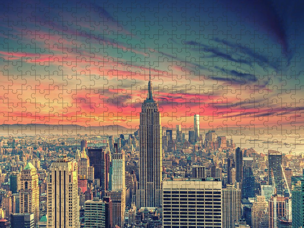Panoramic Puzzle featuring the photograph Manhattan by Zsolt Hlinka