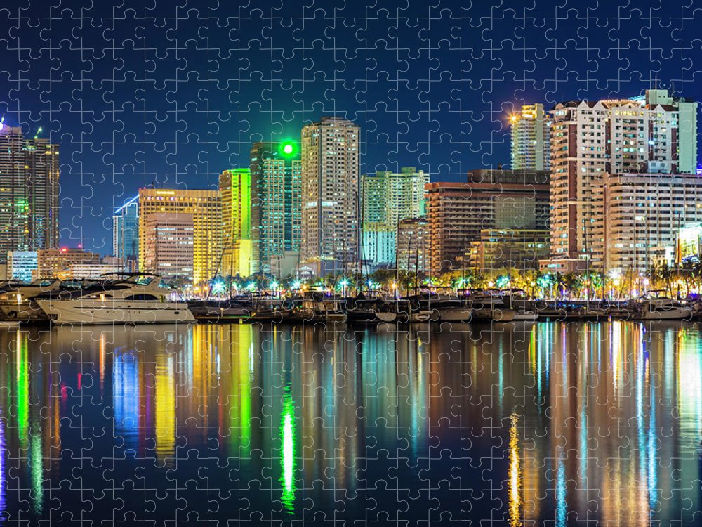 Outdoors Puzzle featuring the photograph Manila City Skyline At Night by Stuart Dee