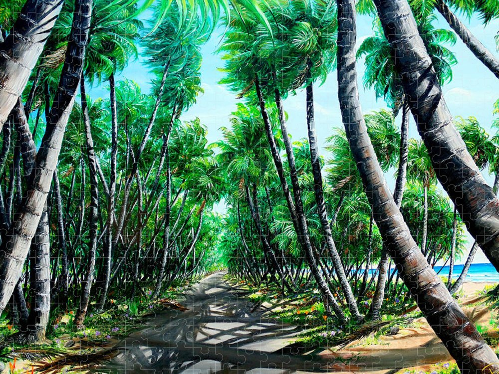 Coconut Trees Puzzle featuring the painting Manzanilla Coconut Estate by Karin Dawn Kelshall- Best