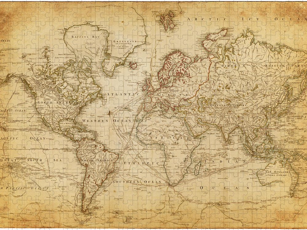 Globe Puzzle featuring the digital art Map Of The World 1800 by Thepalmer