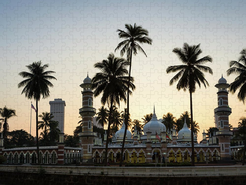 Clear Sky Puzzle featuring the photograph Masjid Jamek - Kuala Lumpur by @ Didier Marti