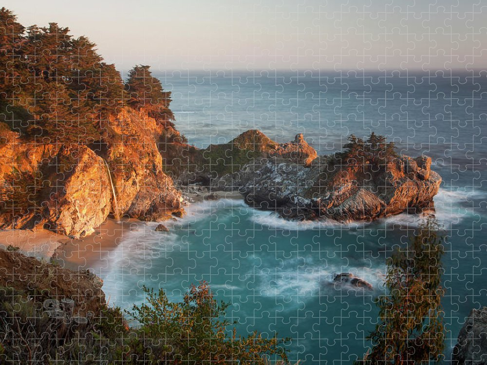 Scenics Puzzle featuring the photograph Mcway Falls At Sunset by Sean Duan