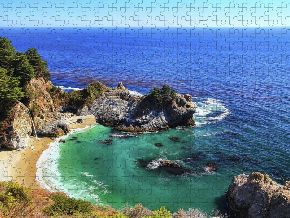 Scenics Puzzle featuring the photograph Mcway Falls by David Toussaint