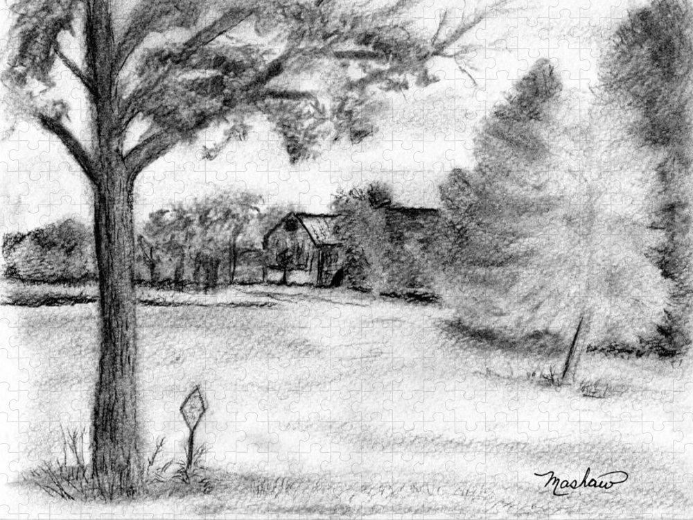 Farm Puzzle featuring the drawing Medford Farm by Sheila Mashaw