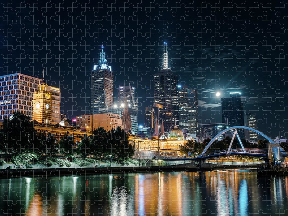 Clock Tower Puzzle featuring the photograph Melbourne In Night by Kenji Lau