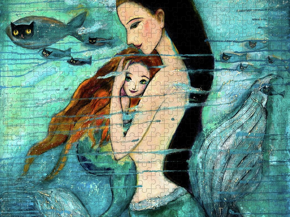Mermaid Art Puzzle featuring the painting Mermaid Mother and Child by Shijun Munns
