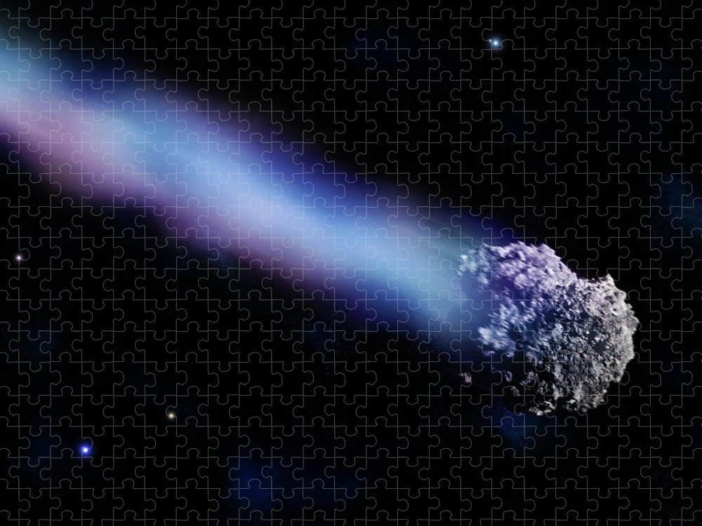 Comet Puzzle featuring the digital art Meteor With Colorful Tail by Maciej Frolow
