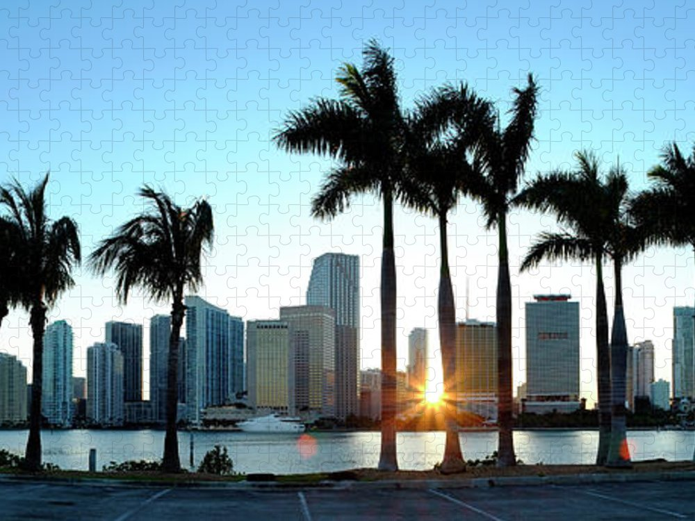 Downtown District Puzzle featuring the photograph Miami Skyline Viewed Over Marina by Travelpix Ltd