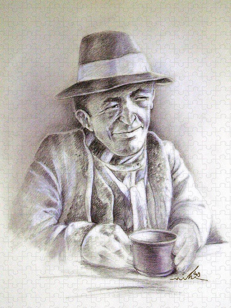 Portrait Michael Anderson Puzzle featuring the painting Michael J Anderson by Miki De Goodaboom