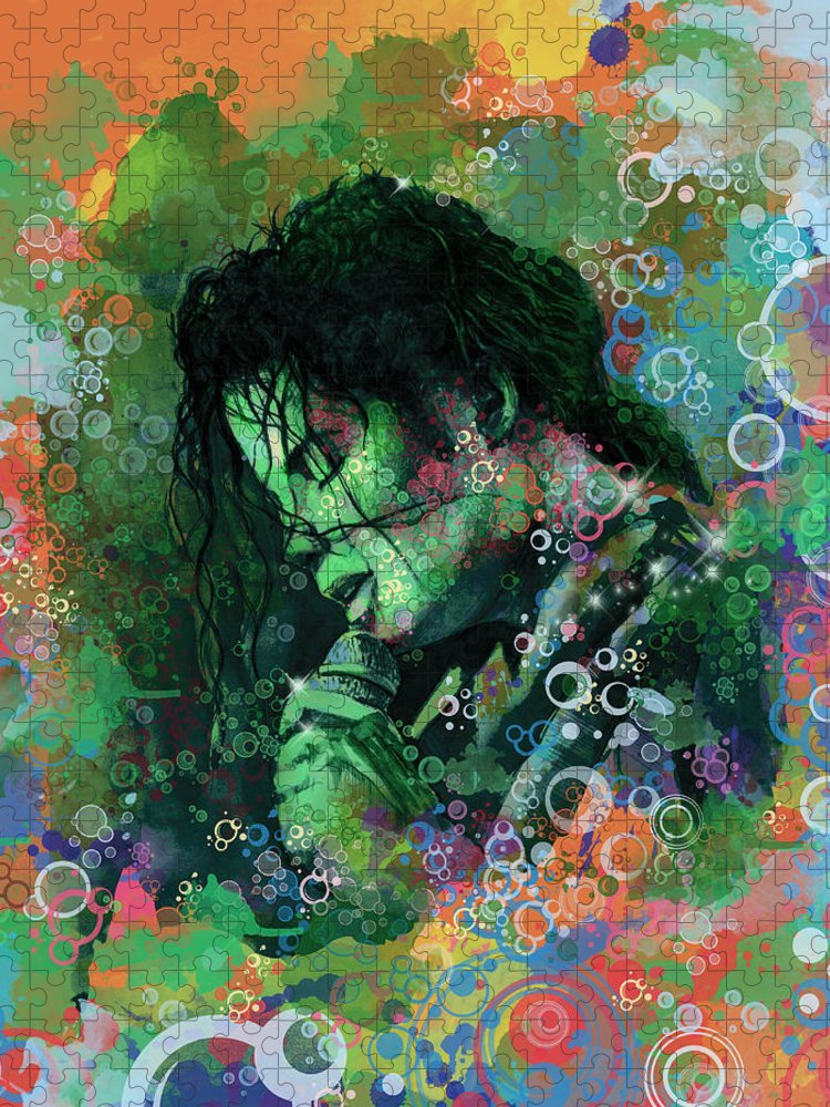Michael Jackson Puzzle featuring the painting Michael Jackson 15 by Bekim M