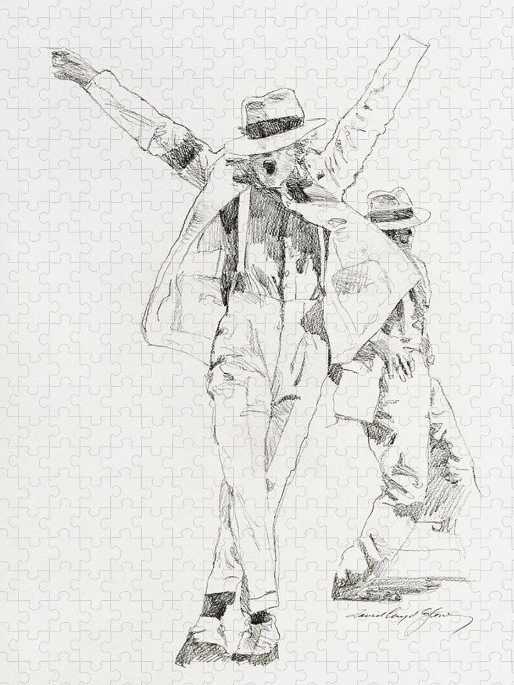 Michael Jackson Puzzle featuring the drawing Michael Smooth Criminal by David Lloyd Glover