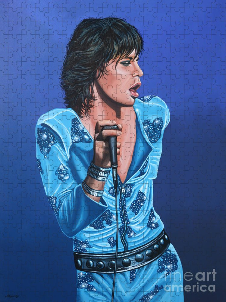 Mick Jagger Puzzle featuring the painting Mick Jagger by Paul Meijering
