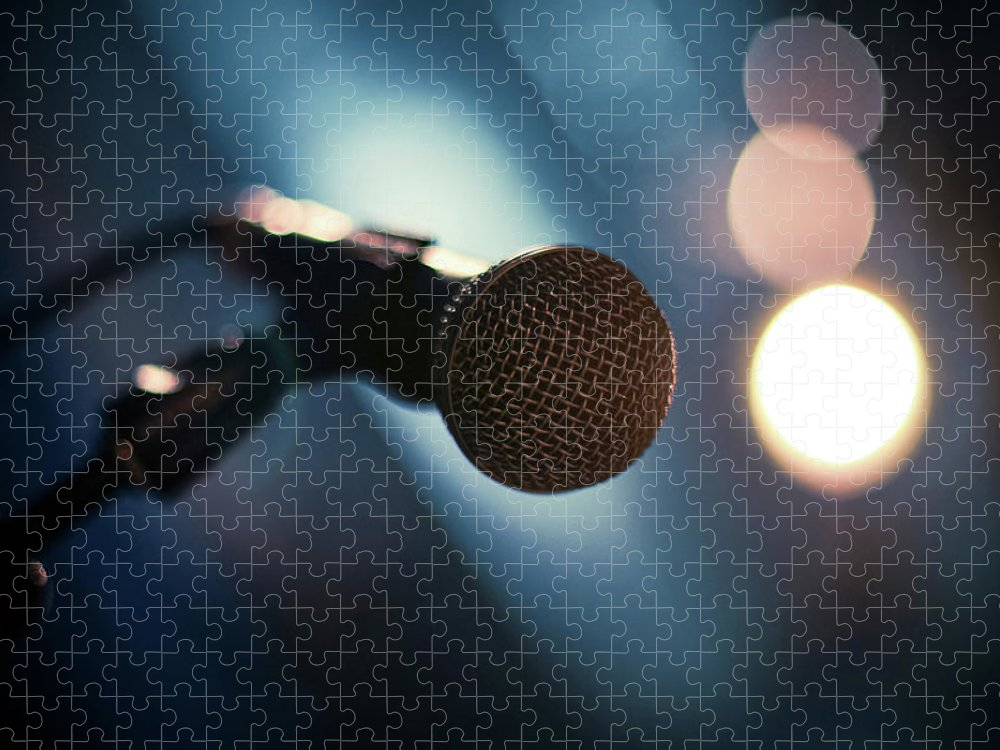 Microphone Stand Puzzle featuring the photograph Microphone Abstract Close Up In Concert by Alexandre Moreau