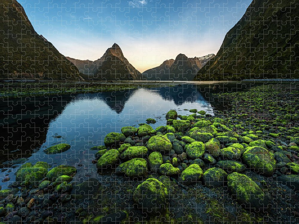 Shadow Puzzle featuring the photograph Milford Sound, New Zealand by Thanapol Marattana