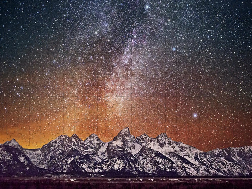 Tranquility Puzzle featuring the photograph Milky Way Over Grand Teton by Chen Su