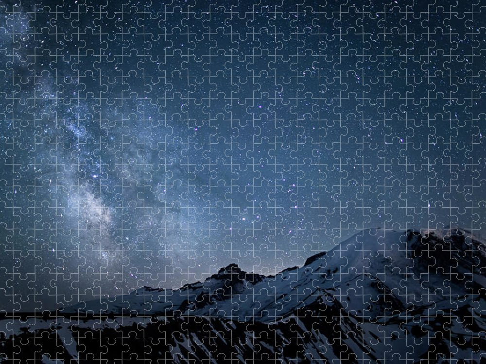 Scenics Puzzle featuring the photograph Milky Way Over Mount Rainier by Ed Leckert
