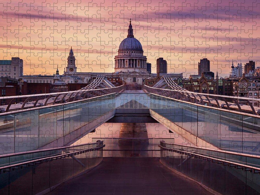 London Millennium Footbridge Puzzle featuring the photograph Millennium Bridge Leading Towards St by Roland Shainidze Photogaphy