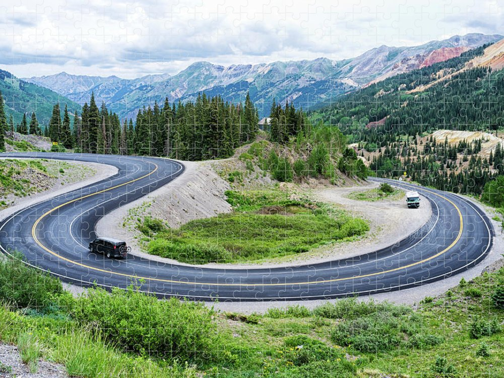 Scenics Puzzle featuring the photograph Million Dollar Highway by Audun Bakke Andersen