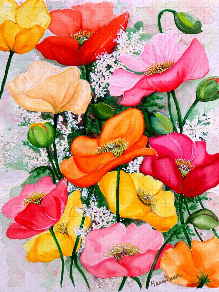 Poppies Puzzle featuring the painting Mixed Poppies by Karin Dawn Kelshall- Best