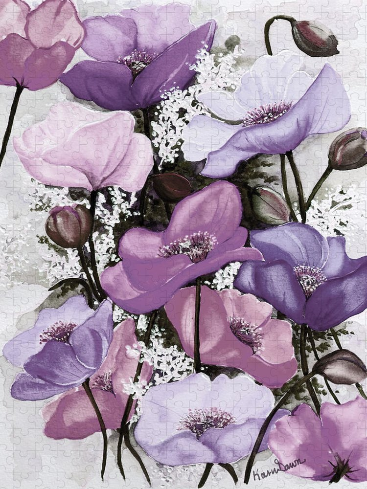Purple Puzzle featuring the painting Mixed Poppies Purple by Karin Dawn Kelshall- Best
