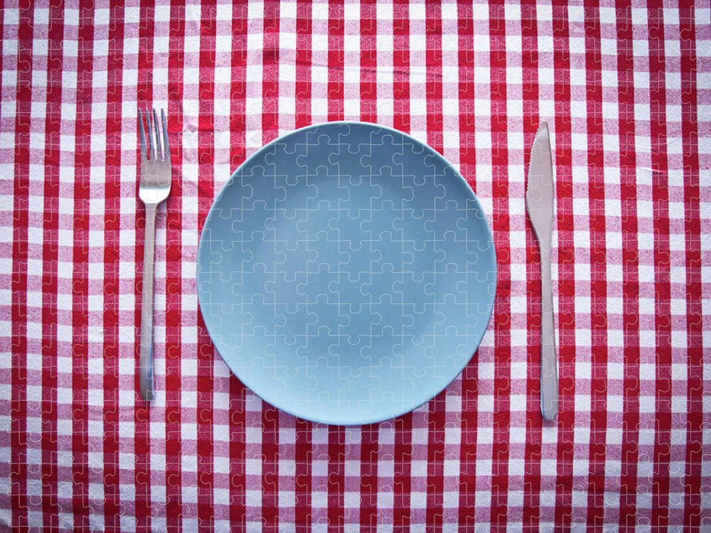 Empty Puzzle featuring the photograph Modern Blue Plate On Red Checkered by Kkong5