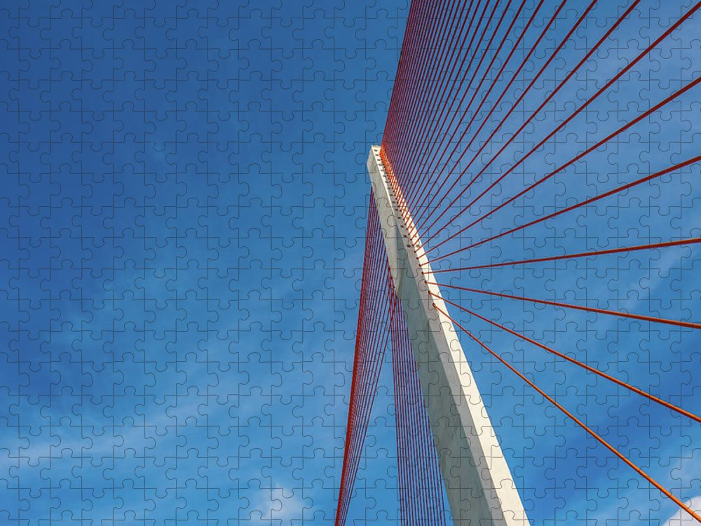 Hanging Puzzle featuring the photograph Modern Suspension Bridge by Phung Huynh Vu Qui
