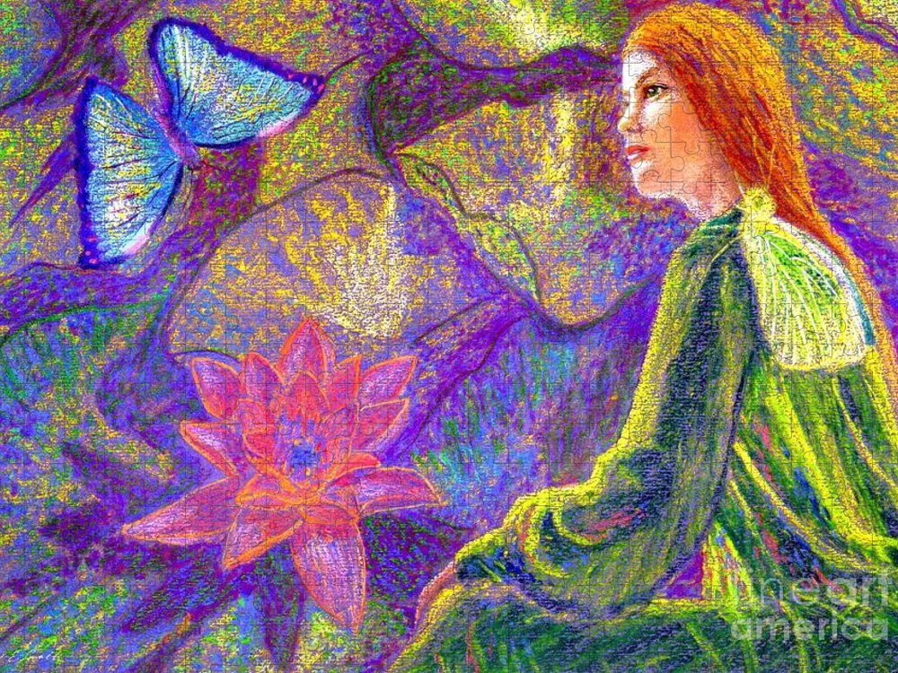 Abstract Puzzle featuring the painting Meditation, Moment of Oneness by Jane Small